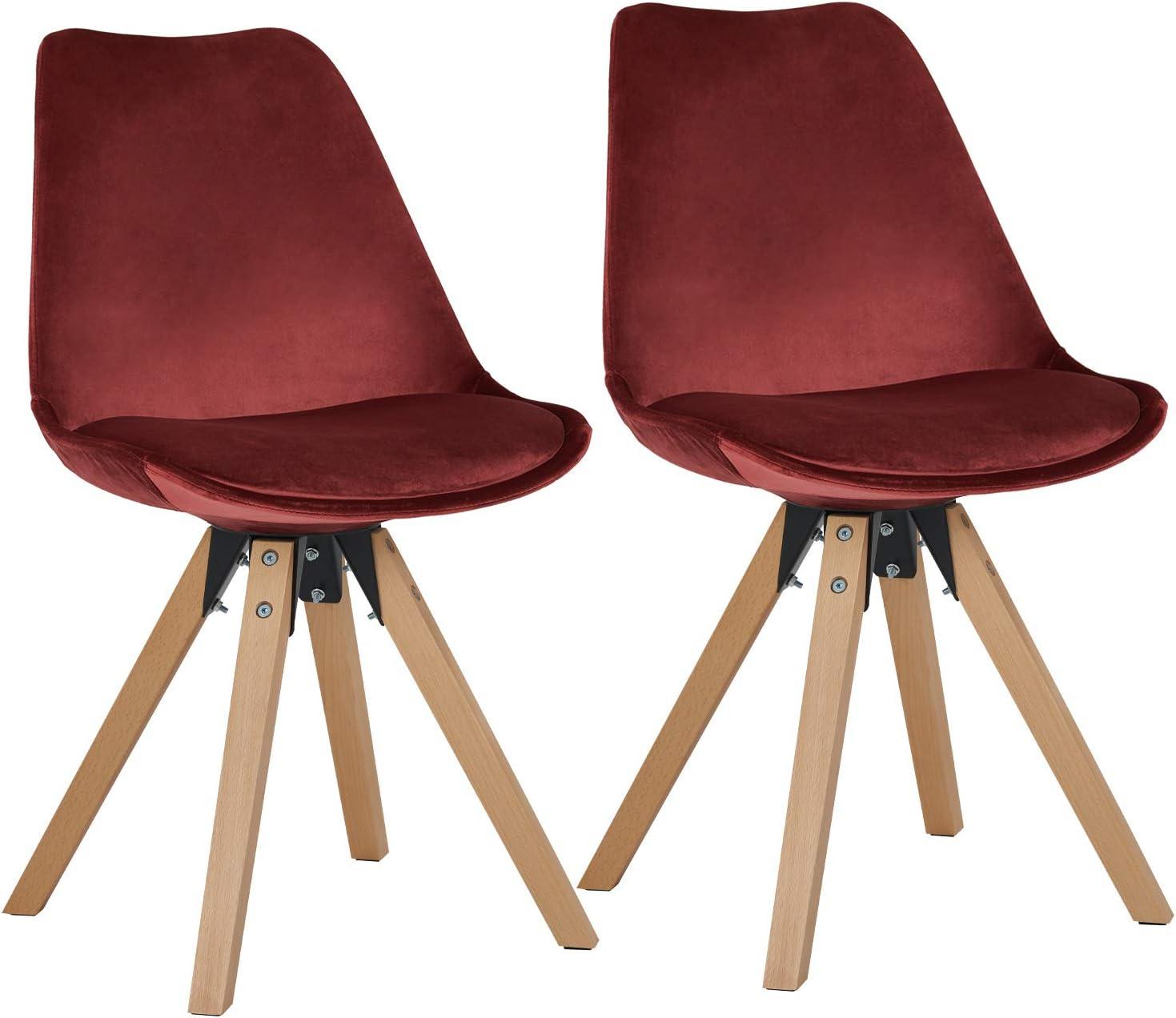 Duhome Chaise Salle à Manger Lot de 2 avec Coussin Design Retro Chaise scandinave avec Pieds en Bois WY 518M, Couleur:Rouge, matière:Tissu