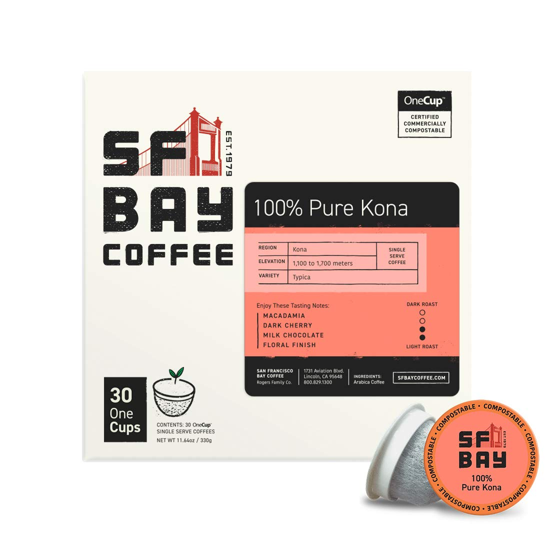 SF Bay Coffee 100% Pure Kona 30 Ct Medium Roast Compostable Coffee Pods, K Cup Compatible including Keurig 2.0 (Packaging May Vary)