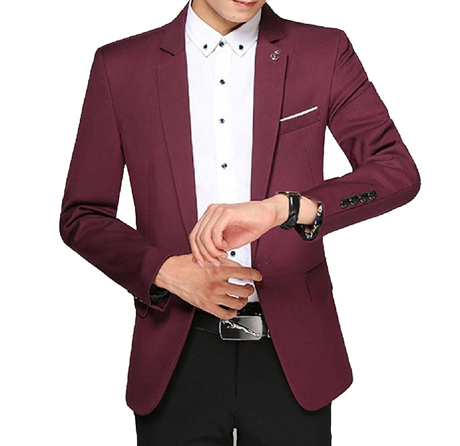 Cheap Coolred Men's Long Sleeve Stitching Solid Slim Fit Jackets Dress Suit Overcoat supplier