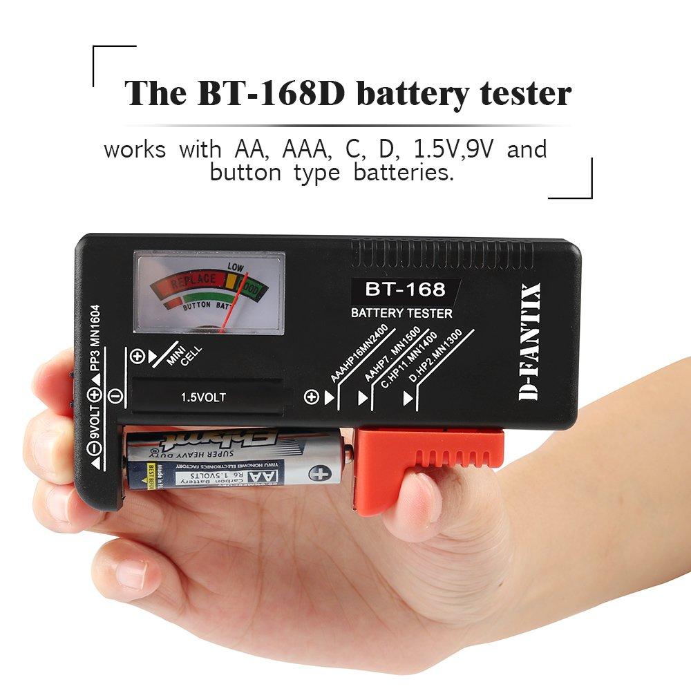 D-FantiX Battery Tester, Universal Battery Checker for AA AAA C D 9V 1.5V Button Cell Batteries (Model: BT-168)