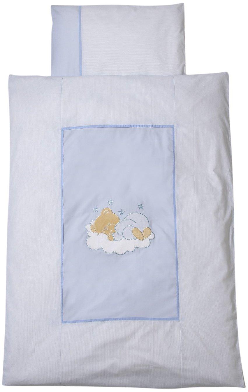 Easy Baby 410 81/Parure de lit 100/x 135/cm Motif ourson endormi Bleu