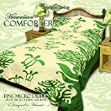 King Hawaiian Quilt bedding Comforter with two 20 x 30'' pillow shams (Honu Sea Turtle) (Sage Green)