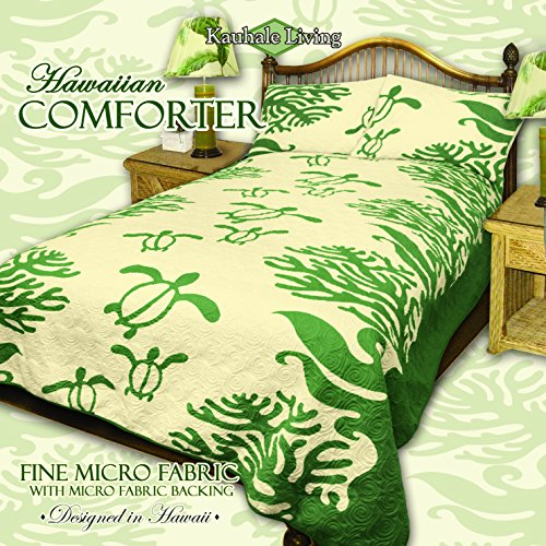 "Wholesale Kauhale Living Queen Hawaiian Quilt bedding Comforter with two 20 x 30"" pillow shams (Honu Sea Turtle) (Green)"