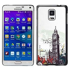 Caucho caso de Shell duro de la cubierta de accesorios de protección BY RAYDREAMMM - Samsung Galaxy Note 4 SM-N910F SM-N910K SM-N910C SM-N910W8 SM-N910U SM-N910 - Big Ben City London England Symbol Art