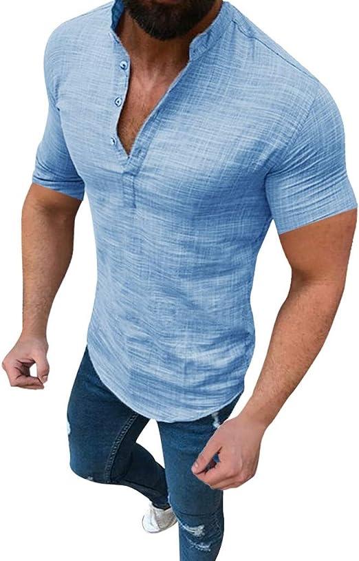 Herren Kurzarm Shirt Bluse Lose Freizeit Rundhals Plain Strand Knopf Hemd Top