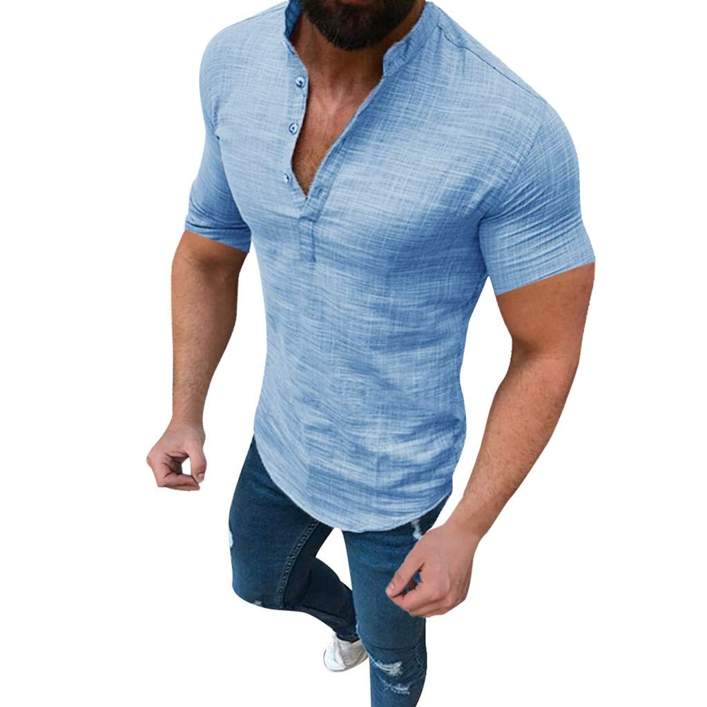 Godathe Men's Casual Shirt Top Cotton Linen T-Shirt Loose Tops Short Sleeve Blouse (XL, Blue)