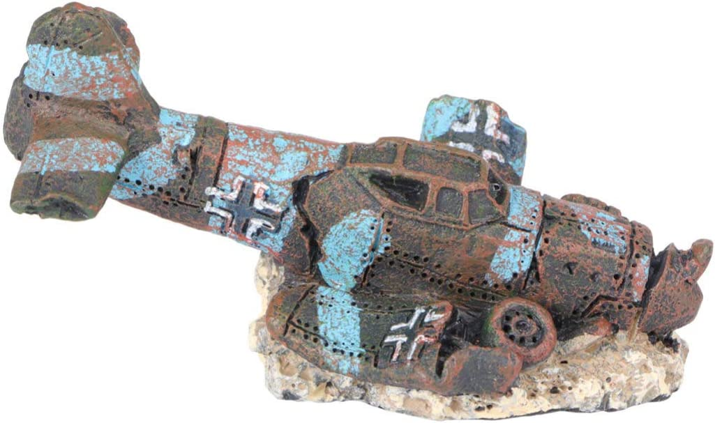 POPETPOP Aquarium Plane Wreck - Resin Sunken Crashed Plane Decorations Aquarium Ornament for Fish Tank