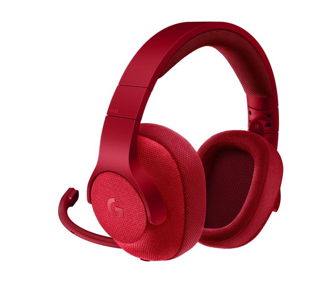Cascos con microfono gaming pc rojos