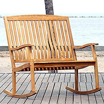 International Caravan Highland Acacia Stained Double Porch Rocker Bench
