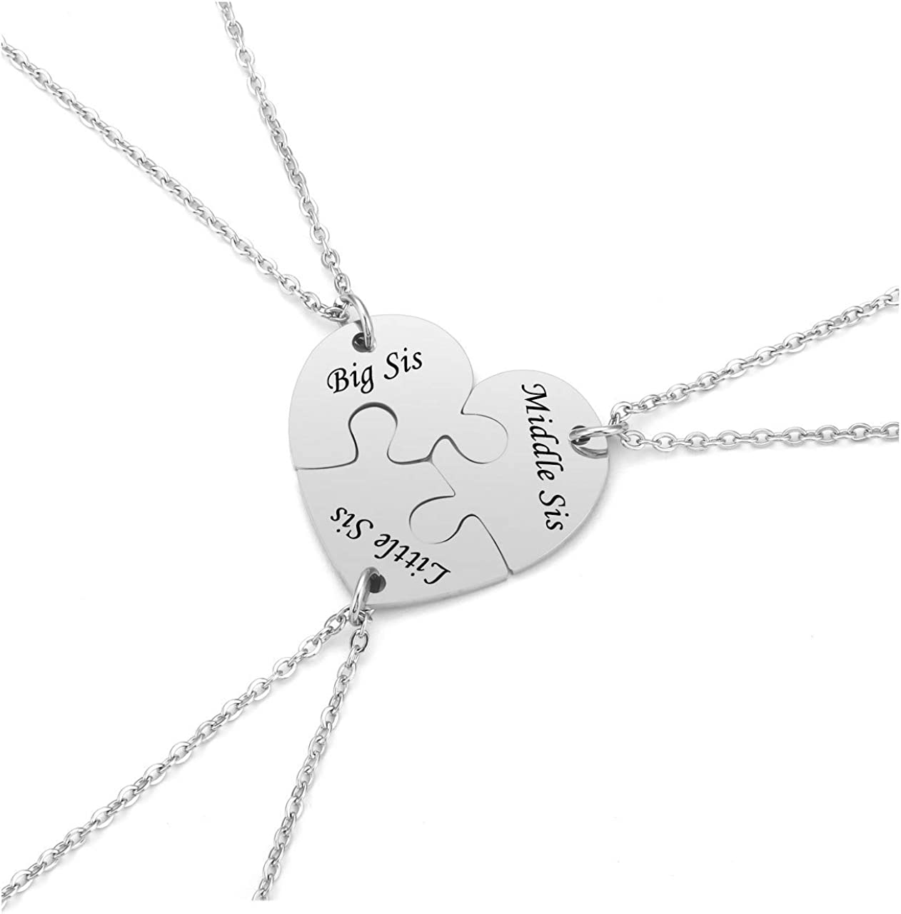 Personalized Customized 5//6 Pieces Matching Puzzle Piece,Pentagram Puzzle Piece BFF Friendship Necklaces Set,Family,Sister Gift