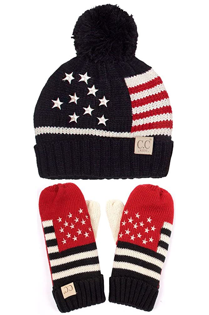 Amazon.com  ScarvesMe CC Children American Flag Knit Hat (Black)  Clothing 66a68e04403