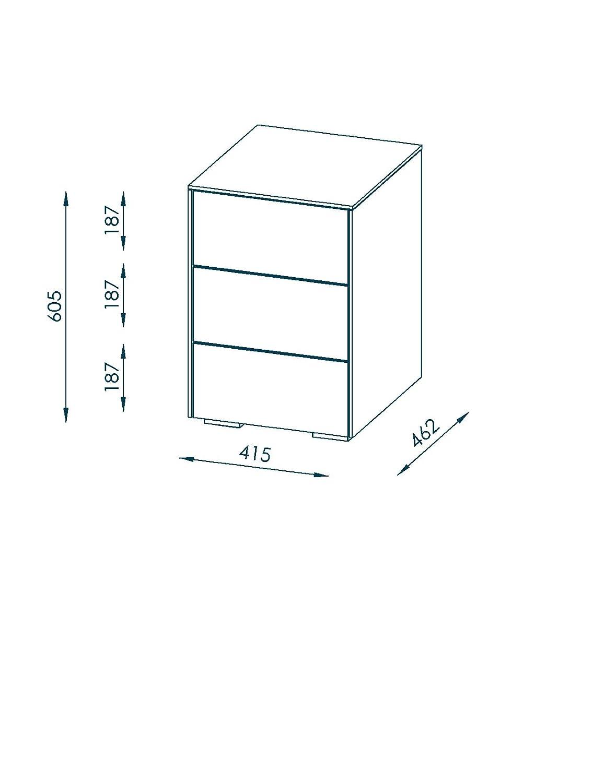 maja mobel nachtkommode holzdekor steingrau weissglas matt 41 50 x 46 20 x 60 50 cm amazon de kuche haushalt