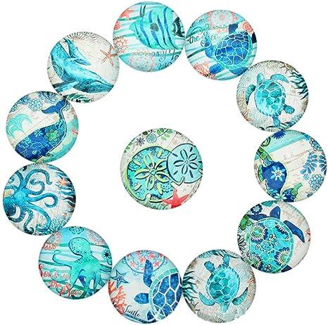 20x Ocean Fish Glass Cabochon Flatback Handmade Round Jewelry Making Crafts