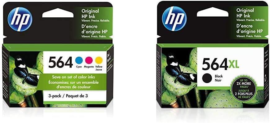 HP 564 | 3 Ink Cartridges | Cyan, Magenta, Yellow | CB318WN, CB319WN, CB320WN & 564XL | Ink Cartridge | Black | CN684WN