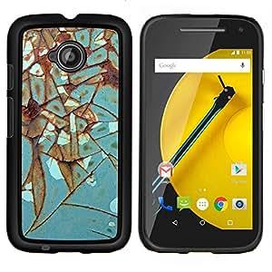 TECHCASE---Cubierta de la caja de protección para la piel dura ** Motorola Moto E ( 2nd Generation ) ** --Hierro metal del moho de la turquesa