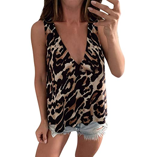e3738057de9d STORTO Womens Summer Tops Leopard Printed Halter Neck Cami Vest Evening  Party Tops Blouse (02Brown