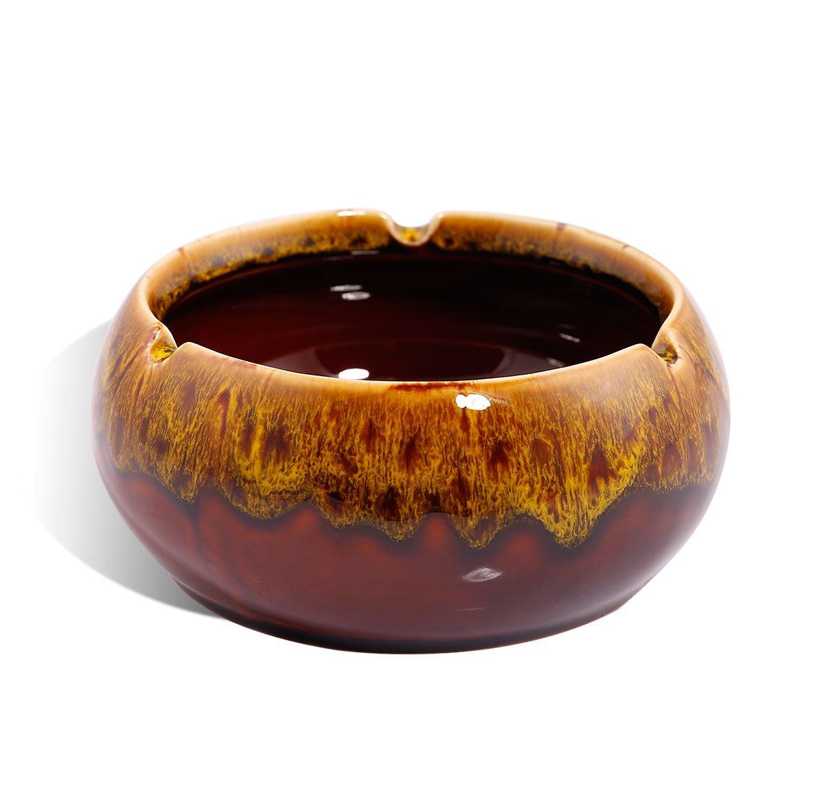 Cenicero, waahome redondo brillante de cerámica cigarrillo cenicero para hombres mujeres y casa oficina decoración 5.1X2.4X5.1'' amarillo Others