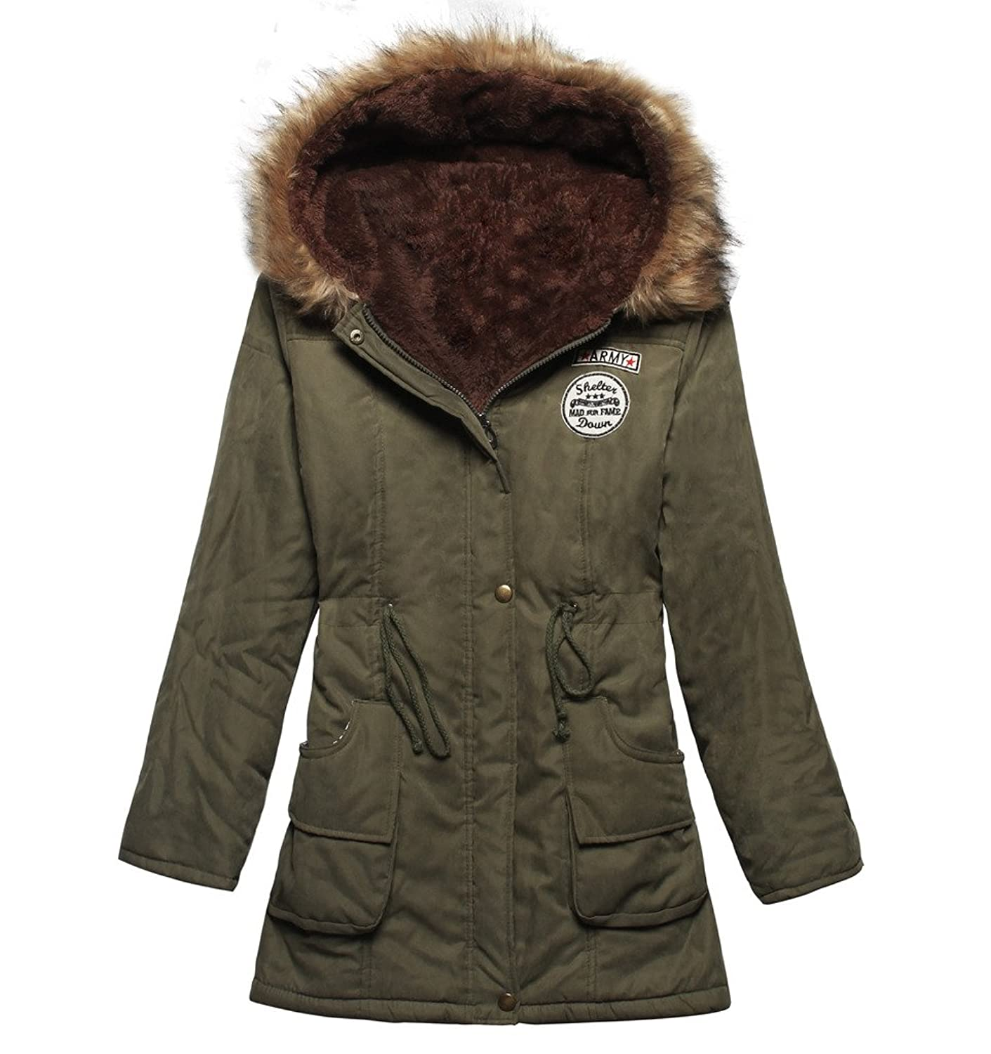 4How Damen Winterantel Damen women Parka mit Pelzkapuze