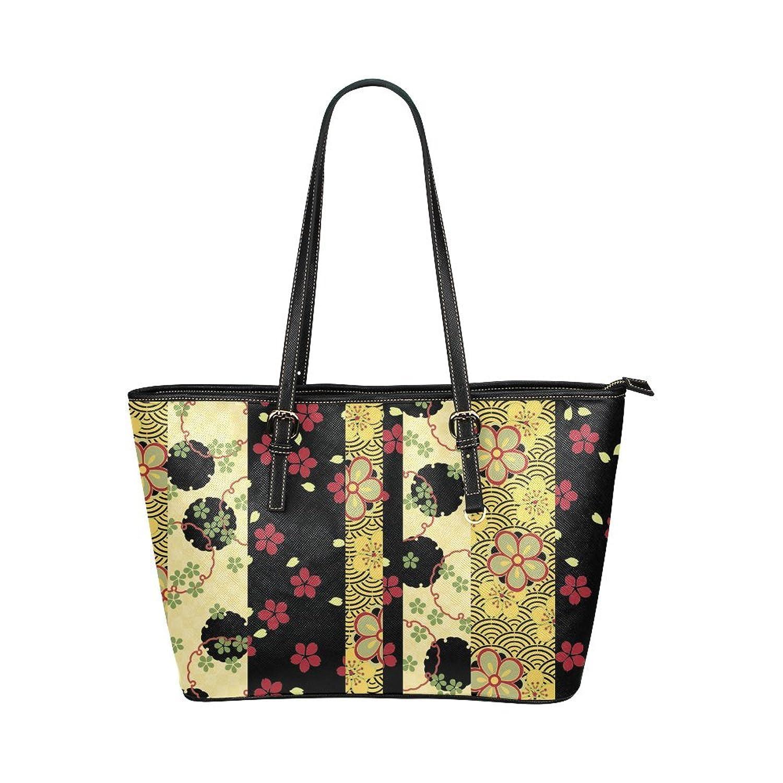 Interestprint Custom Shoulder Bag Red Black Gold Vintage Floral Kimono Leather Tote Bag Large