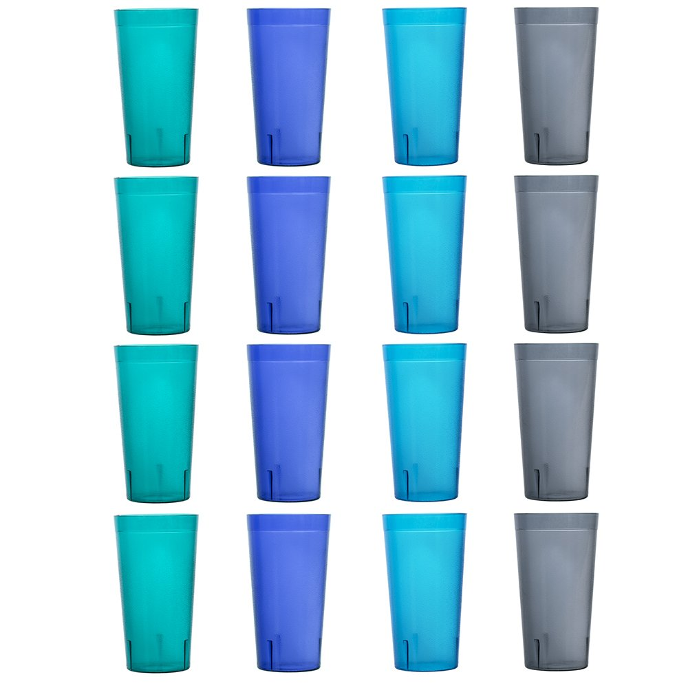 Cafe 20-ounce Break-Resistant Plastic Restaurant-Style Beverage Tumblers | Set of 16 in 4 Coastal Colors by US Acrylic (Image #6)