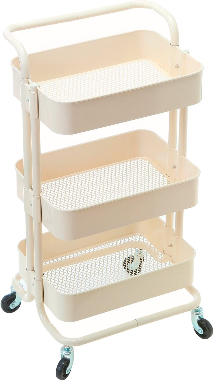HollyHOME 3 Tier Rolling Cart Metal Utility Cart with Handles, Art Cart Bathroom Storage Cart Kitchen Organization, Anti-Rust Service Rack Rolling Shelf, Beige