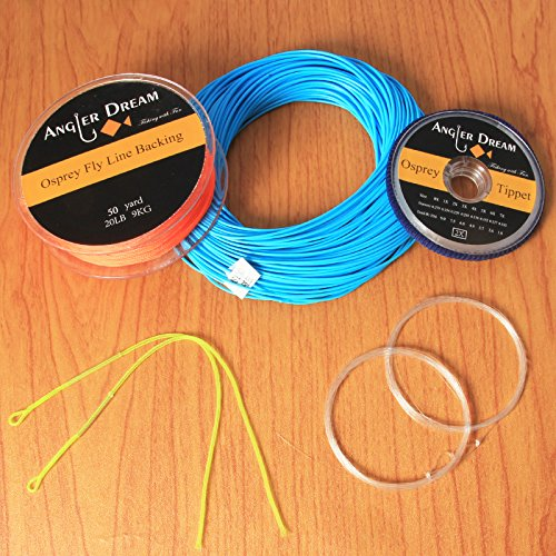 ANGLER DREAM Blue WF Fly Fishing Line Kit 8WT Fly Fishing Line Leader Braided Backing Fish Line