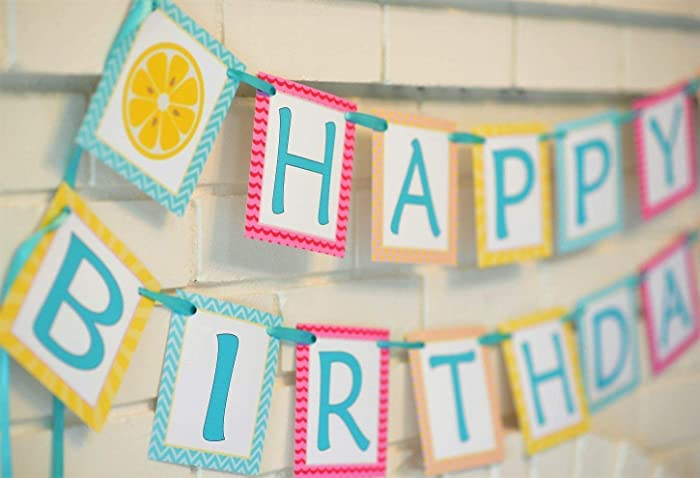 Yellow Pink And Blue Happy Birthday Lemonade Banner Customizable Party Summertime Picnic Beach Pool Theme 1st