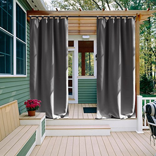 Outdoor Curtain for Front Patio - NICETOWN Energy Saving Thermal Insulated Tab Top Blackout Outdoor Curtain for Gazebo (Single Panel,52 Inch by 95 Inch, Grey)