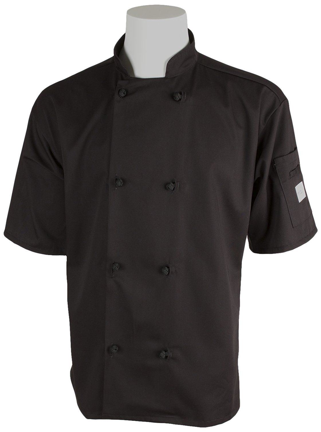 Mercer Culinary M60014BK5X Millennia Men's Short Sleeve Cook Jacket with Cloth Knot Buttons, 5X-Large, Black