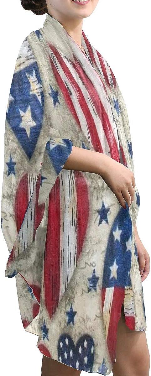 Scarf Patriotic Americana Stars Stripes Womens Chiffon Scarves Beach Thin Shawl Wrap