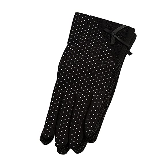 992218d0c Image Unavailable. Image not available for. Colour: Baiyu 1 Pair Summer  Women Lady Girl Sun UV Protection Short Gloves Cotton Thin Lace Dots