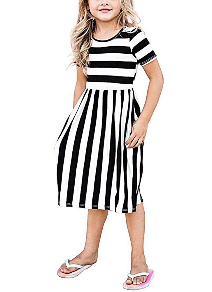 Yancorp Girl Dress Short Sleeve Casual Midi Stripe Dresses with Pockets Kids Summer Beach Fashion Wear 6T-11T (Black, S(6T-7T))