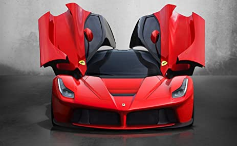 Ferrari LaFerrari Car Art Poster Print On 10 Mil Archival Paper Red Front Open  Door View Great Ideas
