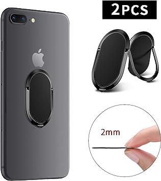 DLseego Anillo para Teléfono Soporte de Dedo,[ 2 Pack ]Agarre de Anillo de Metal Móvil más Delgado Universal Anillo de Dedo Móvil Ajustable de 360 °para Magnético Coche Stand para All Smartphone-Negro: