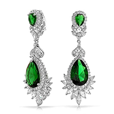 852bf4c288a43 Deco Style Cubic Zirconia CZ Fashion Prom Pageant Statement Dangle Clip On  Earrings Silver Plated Brass More Colors