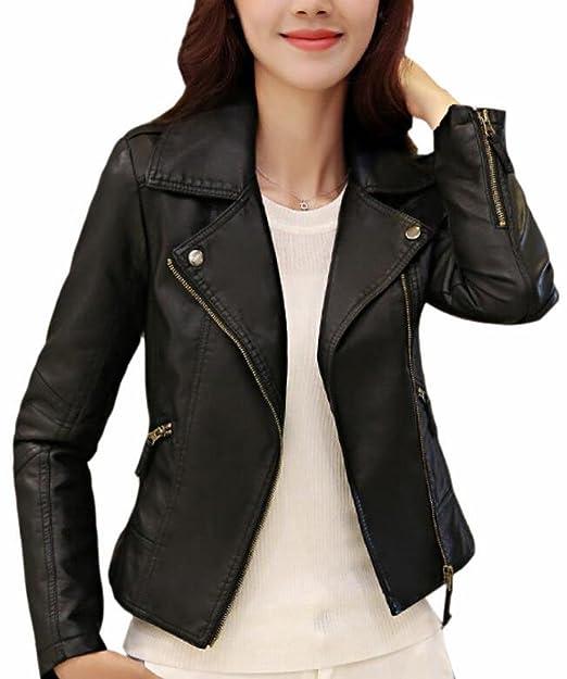 fdcc1ee582c3 xtsrkbg Women's Zip Suede Notched Lapel Faux Leather Winter Moto Jacket  Coat Black XS
