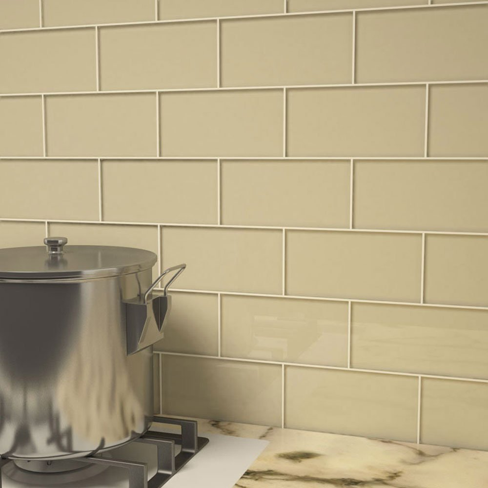 Glass Subway Tile by Giorbello - Light Taupe- Single Tile - - Amazon.com