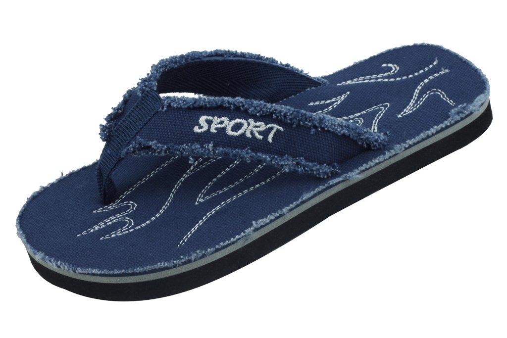 Sunville New Starbay Brand Boy's Navy Light Weight Canvas Flip Flops Sandals Size 6