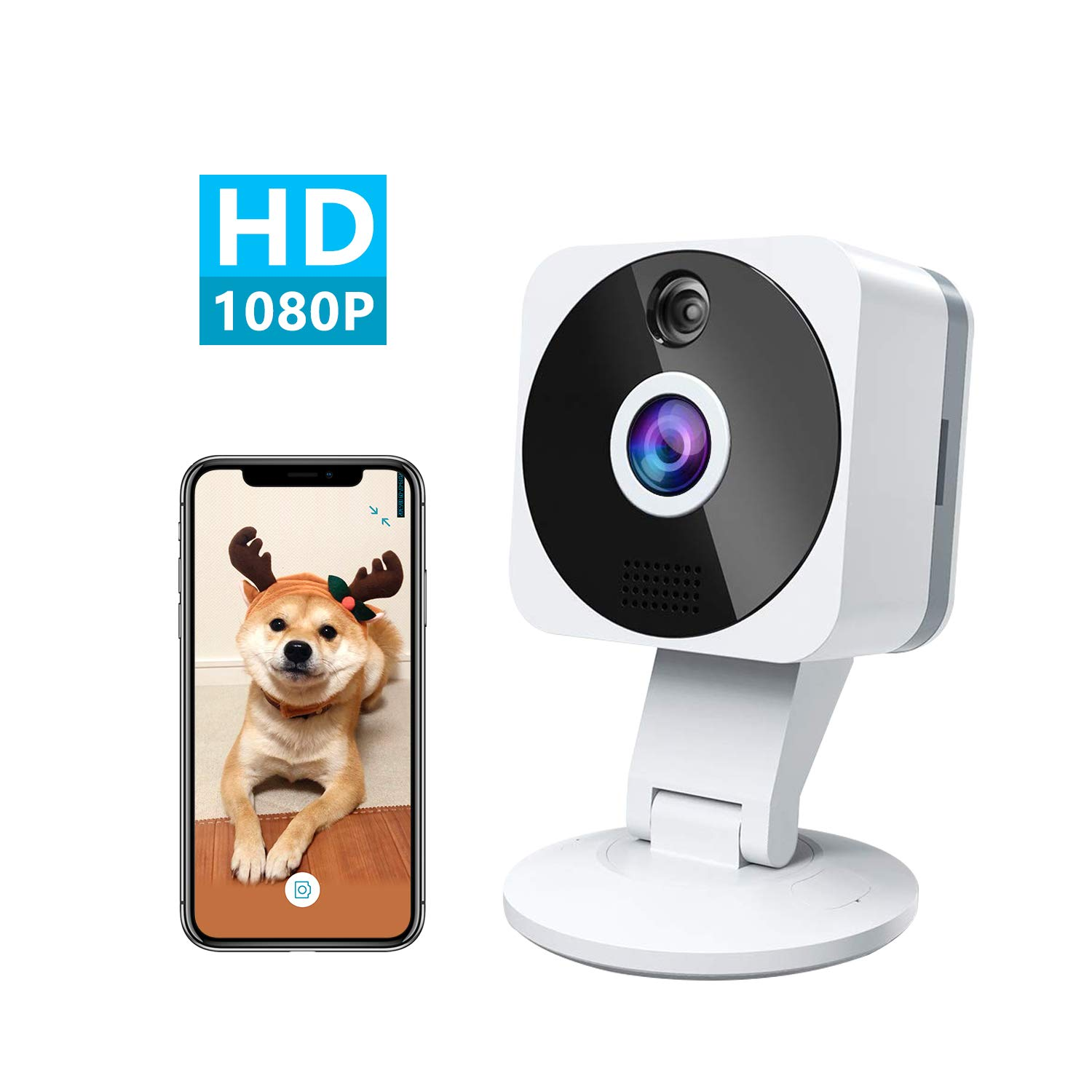 Wireless Smart Home Camera, 1080p HD Indoor 2.4G IP Security Surveillance System with Night Vision 2-Way Audio for Home Office Baby Nanny Pet Monitor with iOS, Android App