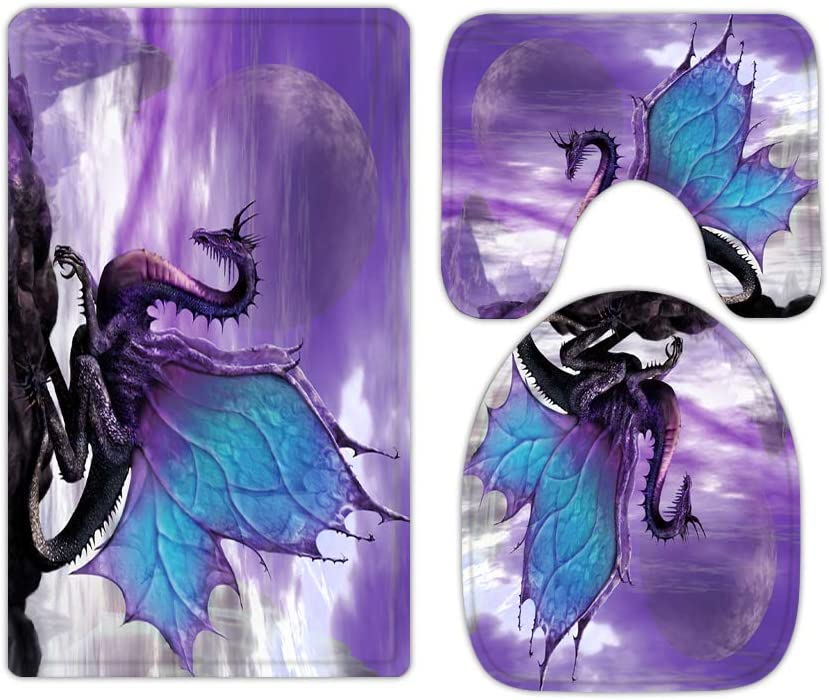 Purple Magic Dragon Bathroom Rugs and Mats Sets 3 Piece, Memory Foam Bath Mat, U-Shaped Contour Shower Mat Non Slip Absorbent, Velvet Toilet Lid Cover Washable