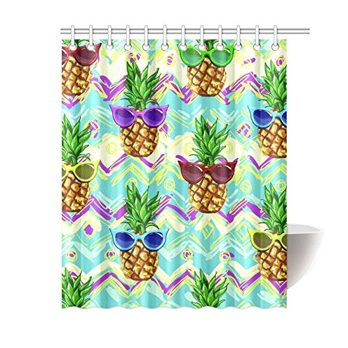 InterestPrint Hipster Pineapples Home Decor, Tropical Flower Fruit Polyester Fabric Shower Curtain Bathroom Sets with Hooks 60 X 72 Inches