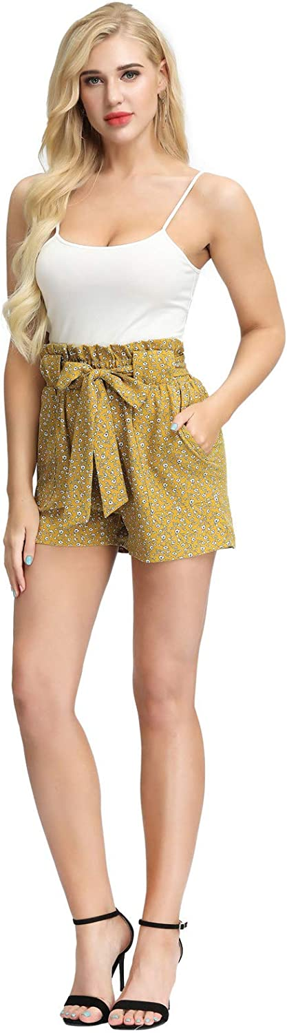 GRACE KARIN Womens Summer Floral Pattern Casual Elastic Waist Belt Decorated Shorts