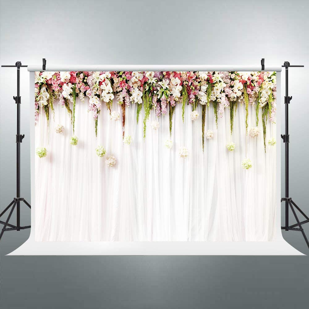 Zhy Red Plum Flowers Bokeh Backdrop 7X5FT Wedding Portrait Artistic Photo Photography Background Vinyl Backdrop for Baby Shower Child Kids Studio Booth Props GEEV204