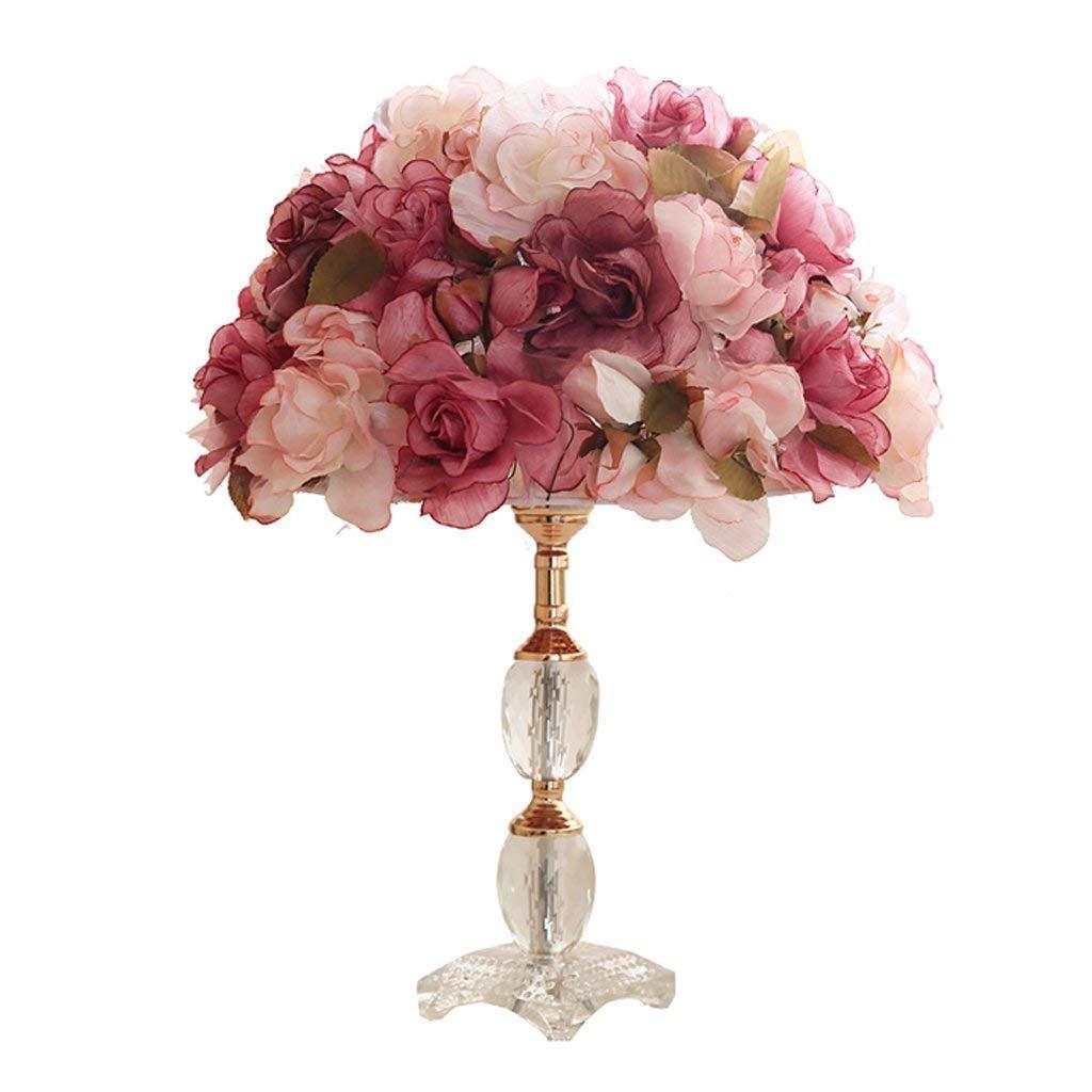 Moderne Kunstkristalltischlampe, romantische rote Rosafarbene Nachttischlampe des Gewebes der Prinzessinmädchenraumdekoration