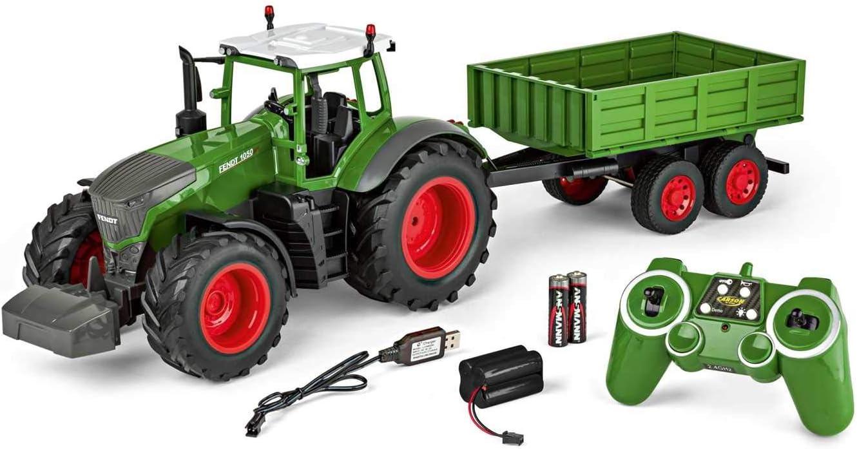 Carson 500907314 500907314-1:16 - Tractor teledirigido con Remolque 100% RTR, vehículo teledirigido con Funciones de luz y Sonido, Incluye Pilas y Control Remoto, Color Verde