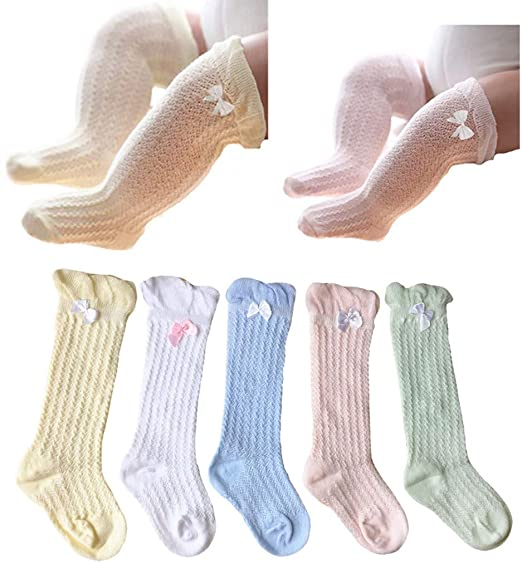 3d6d141ba11 QandSweet Baby Girl Knee-High Socks Toddlers Breathable Mesh Dance Sock  Summer Anti-mosquito
