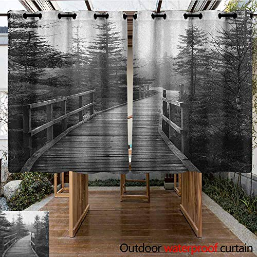 AndyTours Doorway Curtain,Landscape,Pathway in Wilderness with Pine Trees Czech Republic Dramatic Scene Nature,Darkening Thermal Insulated Blackout,K140C115 Black and White
