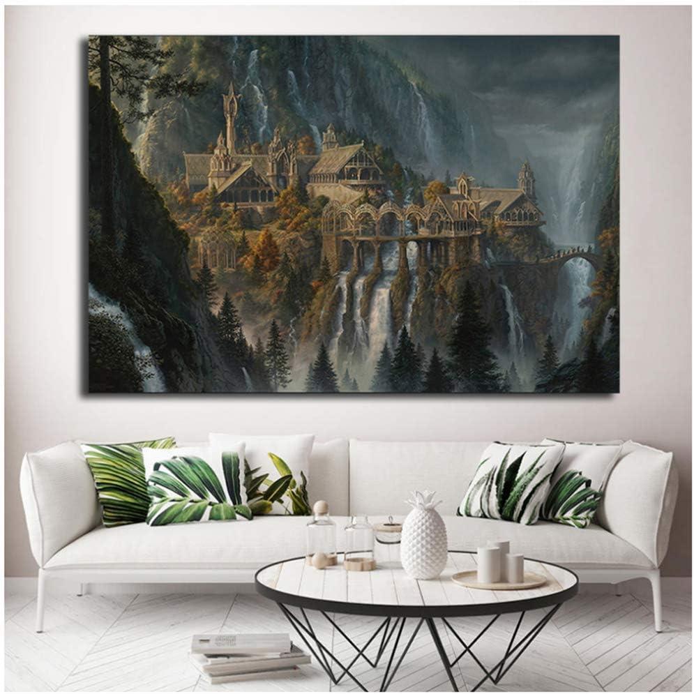 ASLKUYT LOTR Rivendell Herr Der Ringe Poster Hobbit HD Leinwand Wandkunst /Ölgem/älde Dekoratives Bild Modern Home Decoration-50x80cm Kein Rahmen