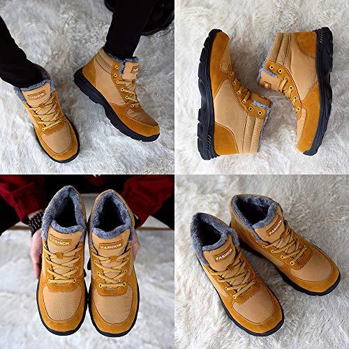 Bottes D'hiver Skateboard Baskets Boots Homme Randonnée Chaussures Botte Lacet Marron Imperméable De Neige Bleu Chaud Bottines Noir Fourrure Bigu 8qdZd