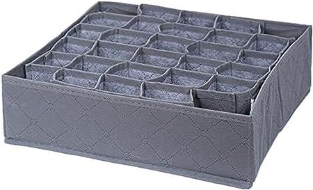 Weimay - Caja de almacenamiento plegable para cajones o armarios, 30 compartimentos para ropa interior, sujetadores, calcetines, corbatas para el cuello, color gris: Amazon.es: Hogar